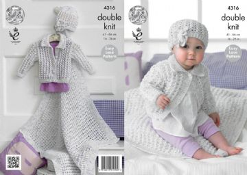 King Cole 4316 Knitting Pattern Girl's Cardigan, Blanket and Hat in DK, 16- 26 inch